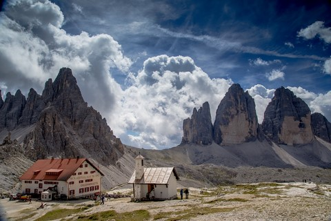 three peaks and mountain hut self guided walks dolomites italy europe